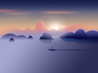Sunset in thousand Islet lake