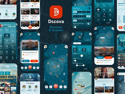 Dscova minimal airbnb ux app branding logo ui geolocation navbar map explore discover