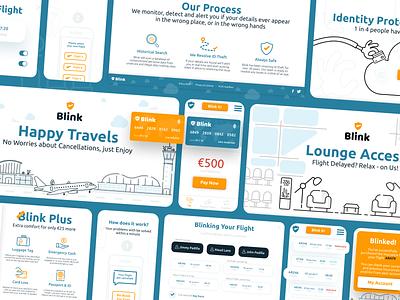 Blink illustration app website airport flights travel insurance