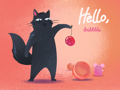 Hello Dribbble vector illustration