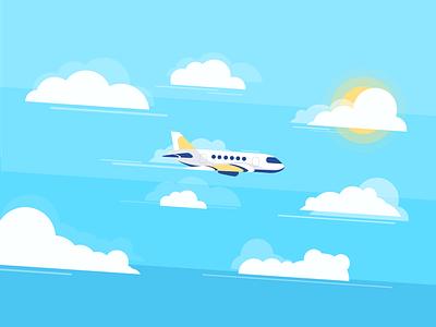Airplane airplane 2d illustration illustration flat color 2d minimal clean sky