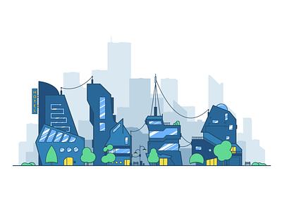 City 2d illustration urban city building landscape illustration flat color 2d minimal clean