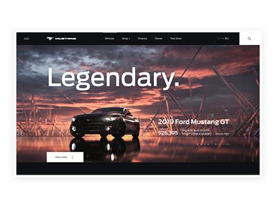 Explore 2019 MUSTANG render 3d web design web minimalism minimal black interface clean cars car typography ux design ui
