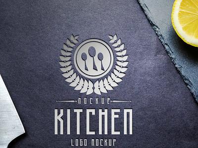 Restaurant Kitchen Logo Mockup illustration design psd mockup design psd mockup premium free latest kitchen mockup logomockup mockup logo kitchen restaurant
