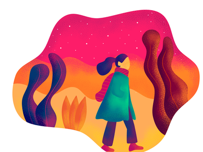 Night walk affinity designer illustration