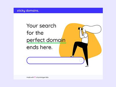 Domain search page minimal landing page ux ui