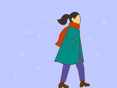 Winter walk illustration