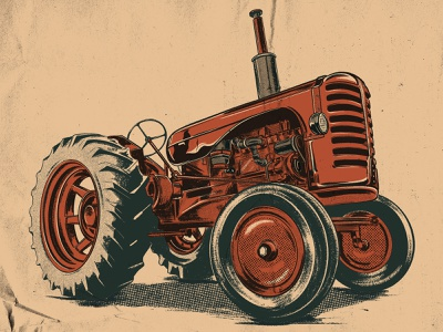 Tractor ipad pro procreate drawing illustration vehicle agriculture farming farm tractor