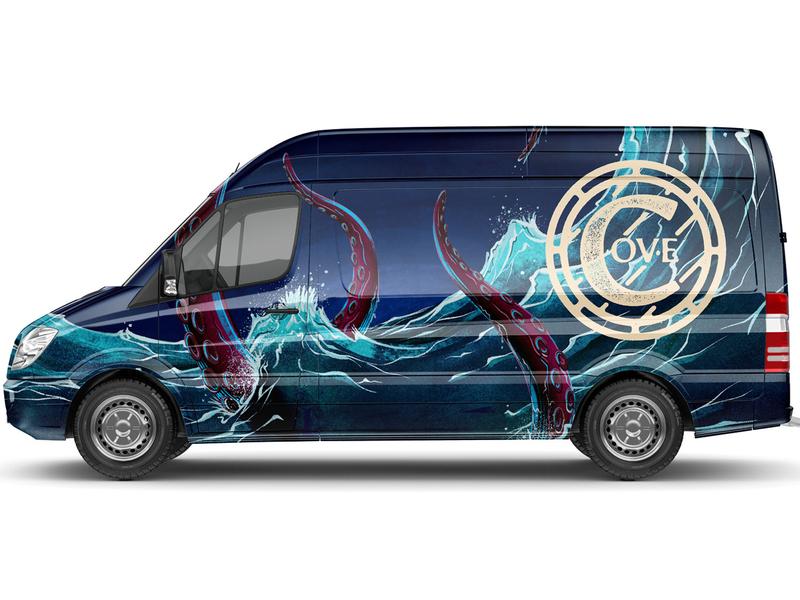Cove Caskworks Van squid octopus water illustration branding livery wrap ale craft brewing brewery beer vehicle van