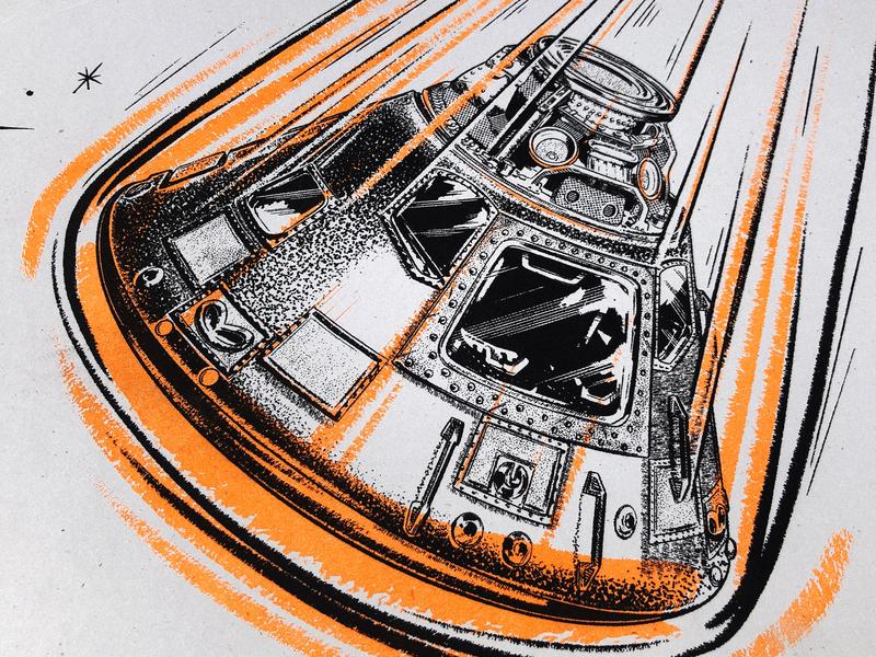 Apollo Risograph Print vintage retro procreate merch space astronaut capsule illustration nasa apollo poster risograph riso