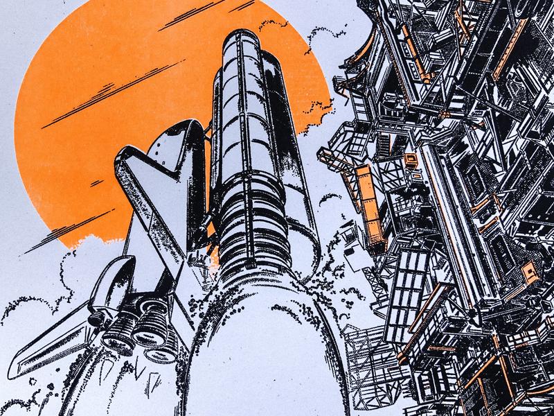 Space Shuttle Risograph Print poster risograph riso procreate illustration launch astronaut rocket nasa space shuttle