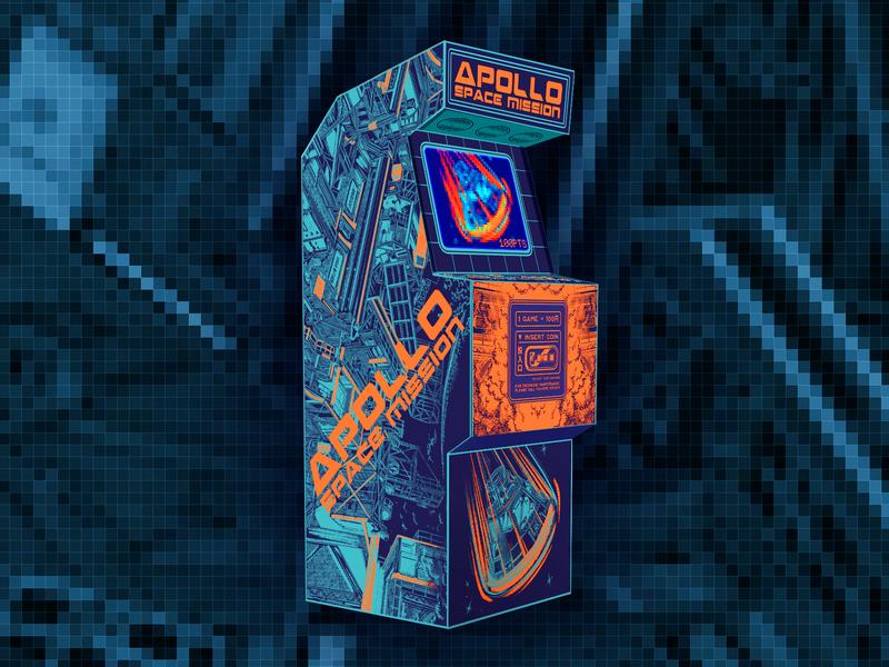 Paiheme Arcade Challenge astronaut space nasa apollo ipad pro challenge procreate illustration video game retro cabinet arcade