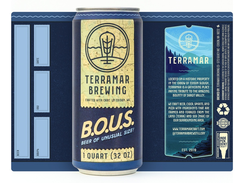 Beer Of Unusual Size! washington cider ale illustration packaging branding brewing brewery beer growler crowler can