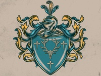 Family Crest device procreate illustraion medieval family crest coat of arms heraldry