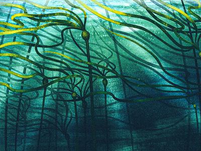 Beer Project - Unused Concept 2 pnw digital painting procreate illustration label underwater ocean water seaweed bull kelp alcohol brewing beer
