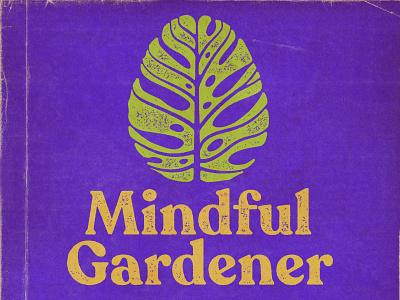 Mindful Gardener horticulture leaves logotype icon 2d brain houseplant philodendron split leaf retro logomark podcast branding logo plant leaf deliciosa monstera gardener garden