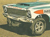Plymouth headlights tire wheel 2d digital painting drawing ipad pro procreate vintage retro illustration vehicle drag race plymouth car
