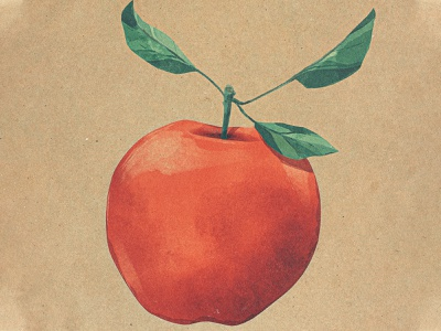Apple Challenge #2 digital painting watercolor painting procreate ipad pro 2d drawing challenge illustration food leaf leaves fruit apple