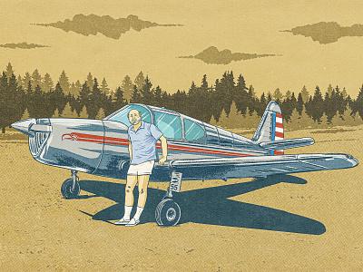 1940s Swift landscape vehicle ipad pro procreate drawing 2d pilot aircraft illustration vintage retro swift airplane plane air