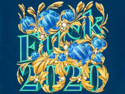 Fuck 2020 fuck 2020 type scrollwork gold acanthus sapphire facted gemstone gem typography lettering 2020