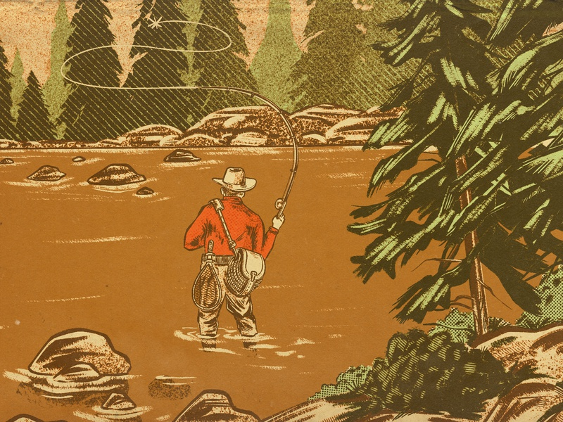Lone Angler catch wader pine tree rock cast net packaging brewery brewing beer illustration landscape river stream fisherman fly fishing fish angler