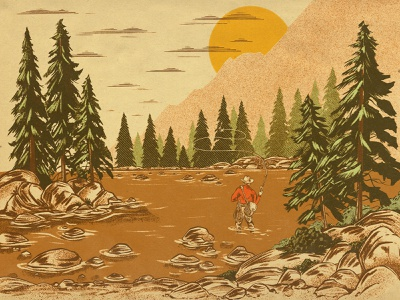 Lone Angler (Full Illustration) outdoors water packaging brewing label beer illustration landscape tree rock river stream net cast fly fisherman fishing fisher fish angler