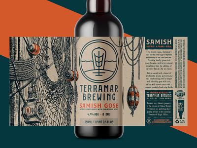 Samish Gose (Unused Concept 1) 750 bottle branding illustration packaging label lantern fishing net ocean nautical washington pnw samish gose ale brew brewing brewery beer
