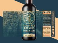 Samish Gose (Unused Concept 2) washington pnw aquatic nautical sea ocean seaweed kelp illustration branding packaging bottle label brewery ale brewing brew beer gose samish