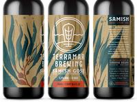 Samish Gose (Unused Concept 3) watercolor ocean sea nautical giant kelp seaweed labeling branding brewery brewing brew packaging 750 bottle label beer ale gose samish