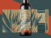 Samish Gose (Unused Concept 3) watercolor kelp seaweed sea ocean coast washington pnw illustration packaging label 750 bottle brewery brewing brew beer ale gose samish