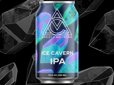 Ice Cavern IPA album artwork single album illustration packaging can ale ipa brewing brewery beer ice mineral quartz gem crystal