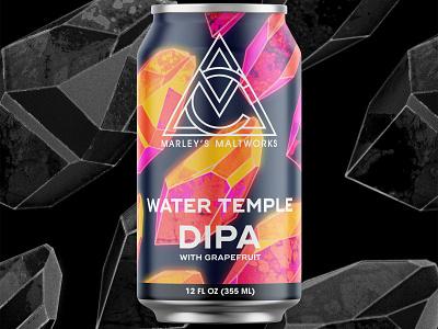 Water Temple DIPA gemstone mineral quartz gem crystal branding can packaging brew brewery brewing pale beer ale ipa dipa