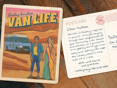 YouTube Van Life Campaign #3 illustration retro vintage postcard portrait people formations formation rocks rock travel rv camper van youtube instagram