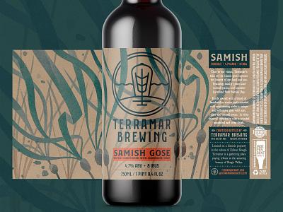 Terramar Samish Gose 750 kelp seaweed pnw washington watercolor procreate branding illustration packaging bottle label alcohol ale brewery brewing beer