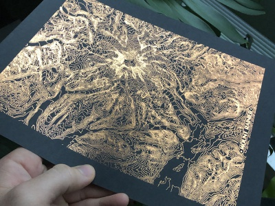 Copper Foil Topographic Rainier seattle washington map mountain topographic topo rainier poster printmaking print foiling foil copper