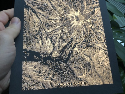 Copper Foil Topographic Rainier topographic topo map printmaking foiling foil copper paper print mt mountain rainier