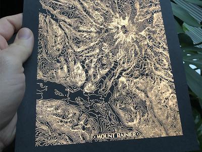 Copper Foil Topographic Rainier topographic topo map printmaking foiling foil copper paper print mt mountain rainier