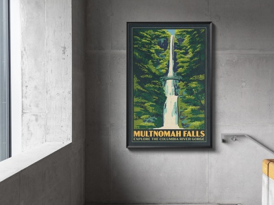 Multnomah Falls Poster water river columbia portland bridge national parks illustration landscape works progress administration wpa oregon multnomah print poster