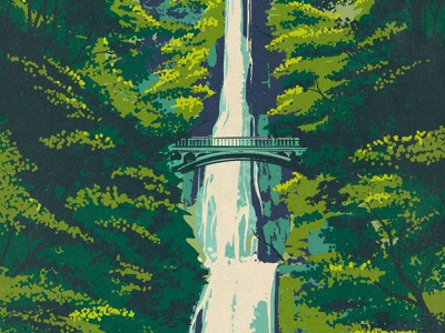 Multnomah Falls landscape national parks gorge river columbia oregon portland procreate illustration retro vintage print poster works progress administration wpa waterfall water falls multnomah