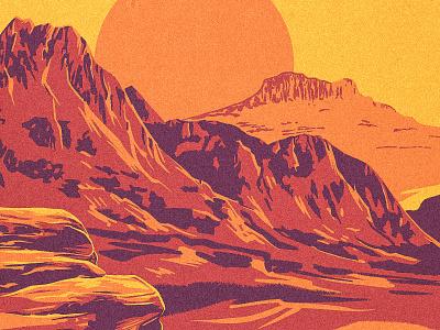 Southwestern Landscape gorge works progress administration new mexico arizona texas utah southwest river canyon mountain procreate illustration western landscape desert