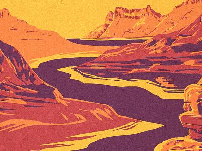 Southwestern Landscape gorge works progress administration new mexico arizona texas utah southwest river canyon mountain procreate illustration western wpa landscape desert