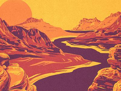 Southwestern Landscape works progress administration new mexico arizona texas utah southwest river canyon mountain procreate illustration western wpa landscape desert
