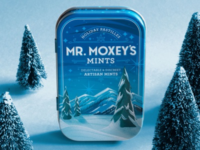 Mr Moxey's Giving Mints label tree pine snow procreate landscape holiday christmas mountain winter illustration packaging edible pastille cbd cannabis candy tin mint