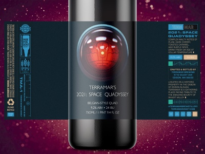 Terramar's 2021 Space Quadyssey odyssey space labeling label brewery brewing branding beer packaging ipad pro 2d digital painting procreate illustration