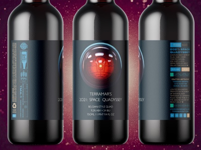 Terramar's 2021 Space Quadyssey ale belgian quad odyssey space bottle labeling label brewery brewing beer branding packaging 2d ipad pro digital painting procreate illustration