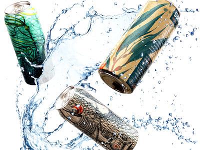 Samish Cans alcohol ale splash branding illustration packaging label beverage brewery brewing mockup can beer