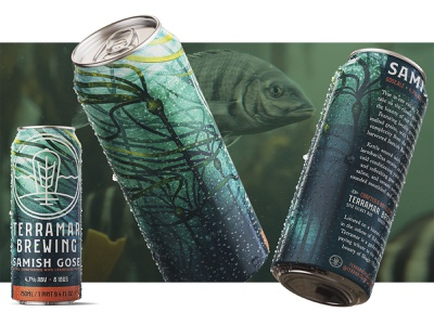 Samish digital painting 2d pnw seaweed kelp procreate illustration alcohol brewing bottle label packaging drink beverage can brewery ale beer