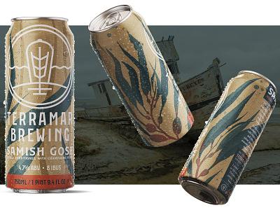 Samish digital painting branding watercolor kelp seaweed procreate illustration 2d design label packaging drink beverage can alcohol ale brewery brewing beer