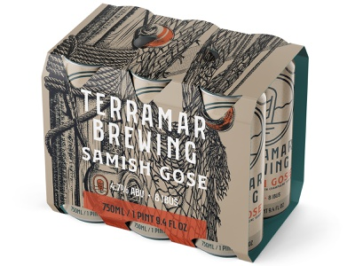 Samish rope lantern net illustration nautical label box packaging gose ale brewery brewing beer alcohol beverage bottle can cans six pack 6 pack