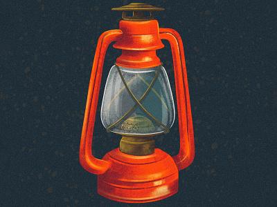 Lantern ipad pro digital painting 2d procreate illustraion old rusty vintage metal campsite outdoors fire gas camping camp light lantern